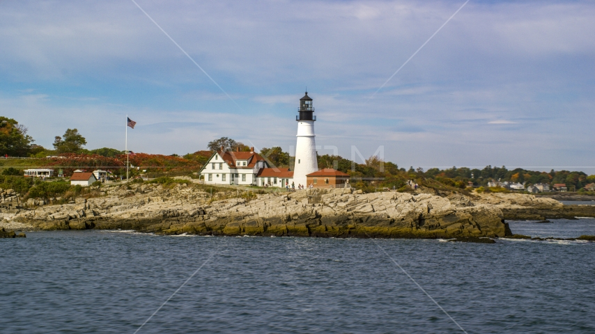 The Portland Head Light seen from the water, autumn, Cape Elizabeth, Maine Aerial Stock Photos | AX147_312.0000000