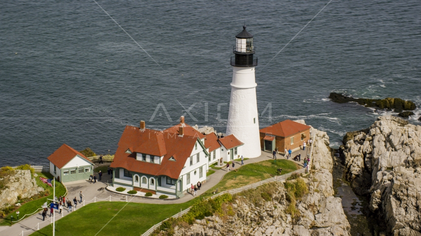 A view of the Portland Head Light, autumn, Cape Elizabeth, Maine Aerial Stock Photo AX147_315.0000141 | Axiom Images