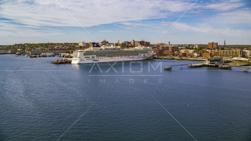 Aerial stock photo of cruise ship docked at a pier, autumn, Portland, Maine Aerial Stock Photos | AX147_322.0000000