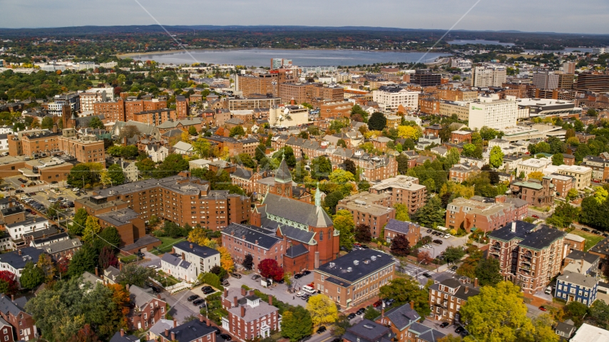 A view of apartments near Saint Dominics Roman Catholic Church, autumn, Portland, Maine Aerial Stock Photos | AX147_326.0000187
