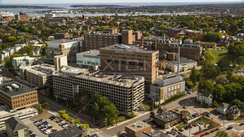The Maine Medical Center, autumn trees, Portland, Maine Aerial Stock Photos | AX147_356.0000000