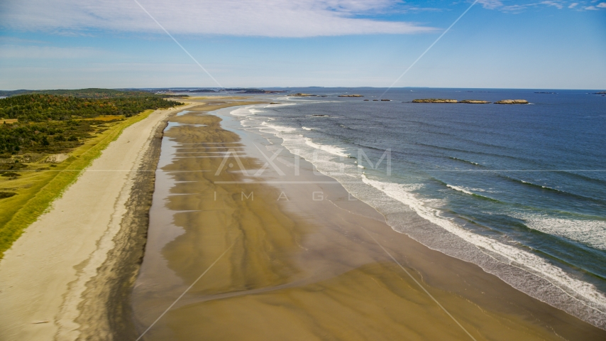 Waves rolling onto the beach in autumn, Phippsburg, Maine Aerial Stock Photos | AX147_385.0000067