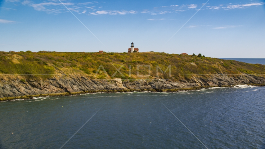 Seguin Island, and Seguin Light in autumn, Phippsburg, Maine Aerial Stock Photos | AX147_389.0000000