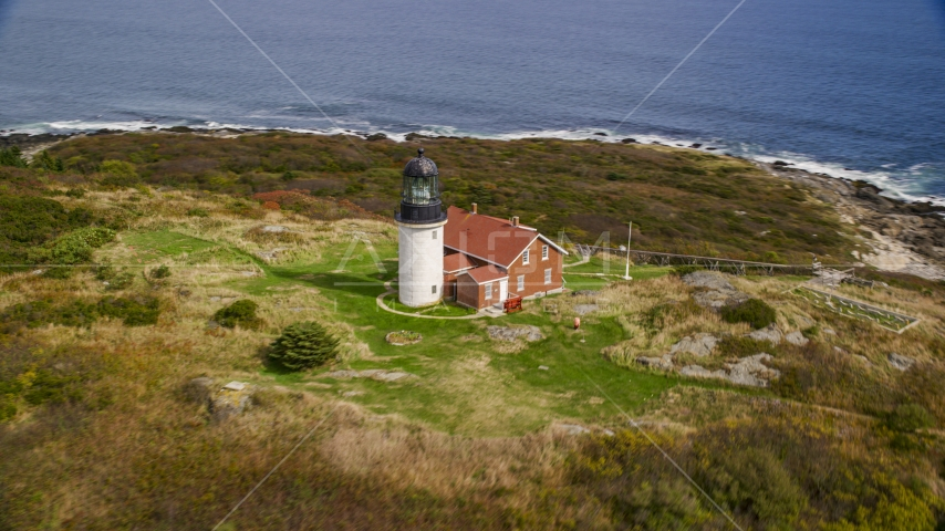 Seguin Light in autumn, Phippsburg, Maine Aerial Stock Photos | AX147_389.0000269