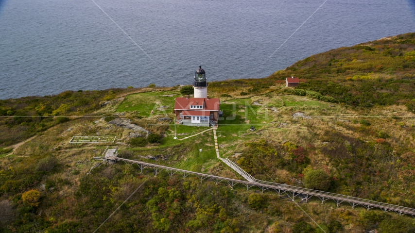 Seguin Light on Seguin Island with autumn foliage, Phippsburg, Maine Aerial Stock Photos | AX147_390.0000033