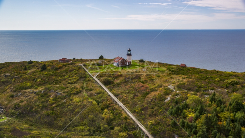 Seguin Light on Seguin Island in autumn, ocean in the background, Phippsburg, Maine Aerial Stock Photos | AX147_390.0000239