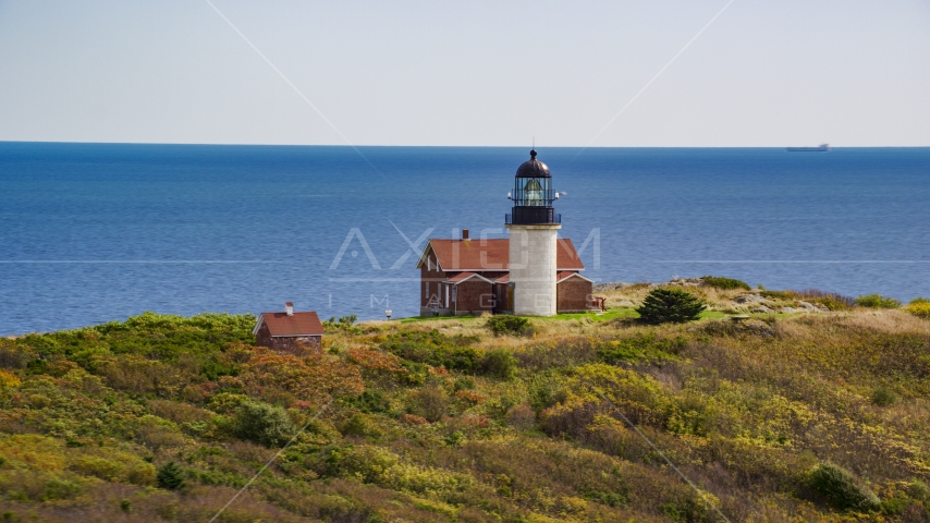 Seguin Light, with a view of the ocean, on Seguin Island, autumn, Phippsburg, Maine Aerial Stock Photos | AX147_392.0000000