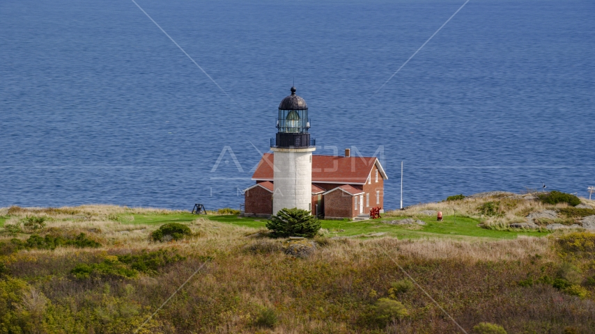 The lighthouse on Seguin Island in autumn, Phippsburg, Maine Aerial Stock Photos | AX147_392.0000265