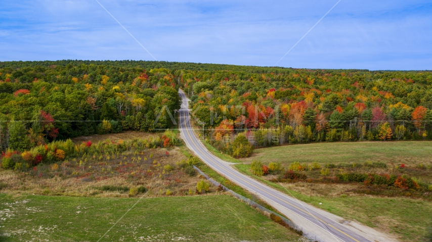 The Old Ferry Road and colorful forest in autumn, Wiscasset, Maine Aerial Stock Photos | AX147_422.0000000