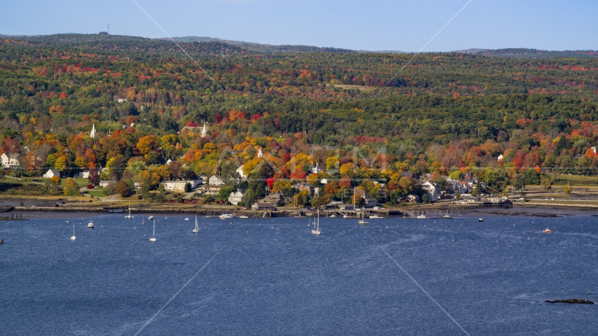 A small waterfront town in autumn, Wiscasset, Maine Aerial Stock Photo AX148_002.0000198 | Axiom Images