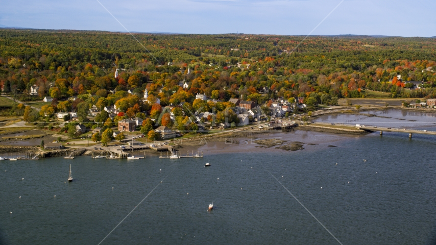 A small waterfront town in autumn, Wiscasset, Maine Aerial Stock Photos | AX148_005.0000000