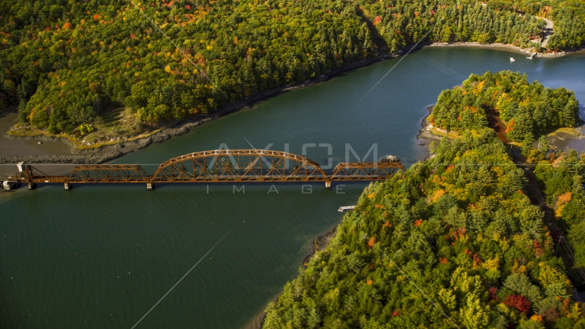 A bridge spanning Sheepscot River in autumn, Newcastle, Maine Aerial Stock Photo AX148_006.0000195 | Axiom Images
