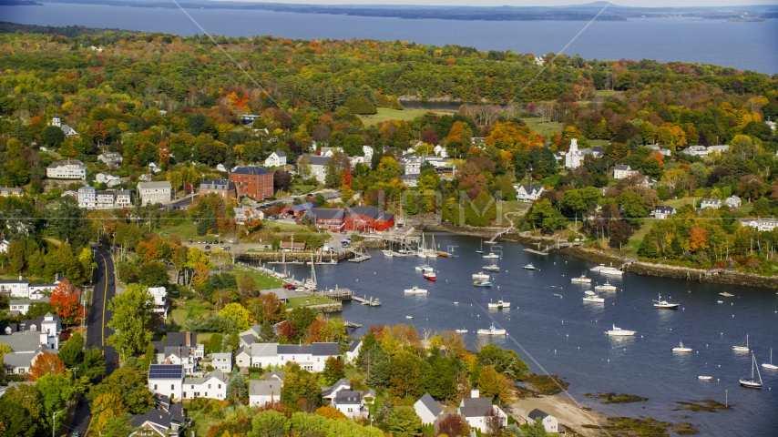 A small coastal town and Rockport Harbor in autumn, Rockport, Maine Aerial Stock Photos | AX148_099.0000000