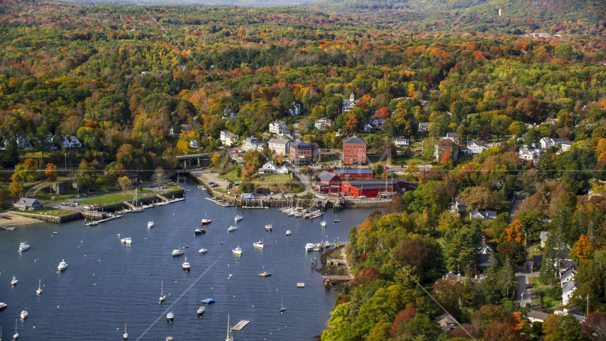 A small coastal town beside a harbor in autumn, Rockport, Maine Aerial Stock Photos | AX148_101.0000000