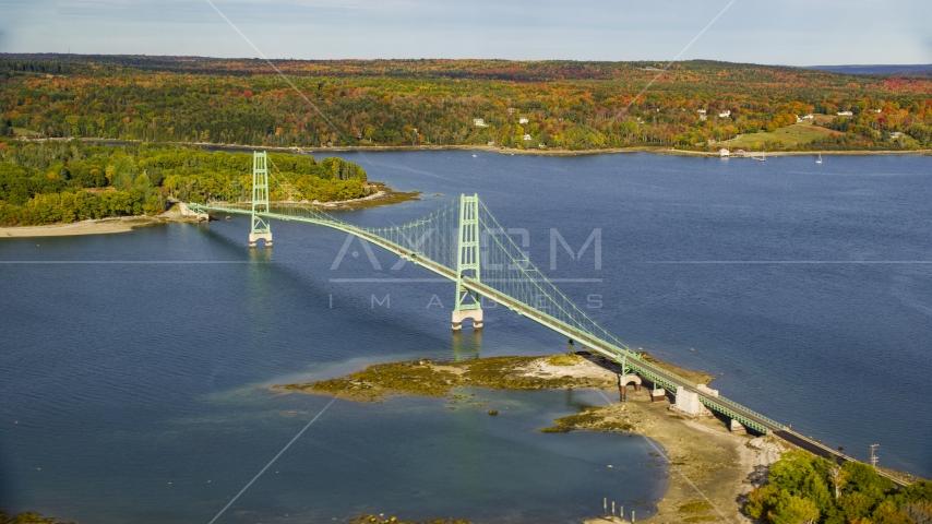 The Deer Isle Bridge in autumn, Maine Aerial Stock Photos | AX148_139.0000000
