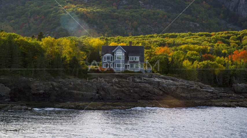 A waterfront mansion in autumn, Bar Harbor, Maine Aerial Stock Photos | AX148_184.0000000