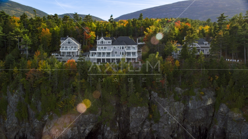 Clifftop homes overlooking the water in autumn, Bar Harbor, Maine Aerial Stock Photos | AX148_191.0000264