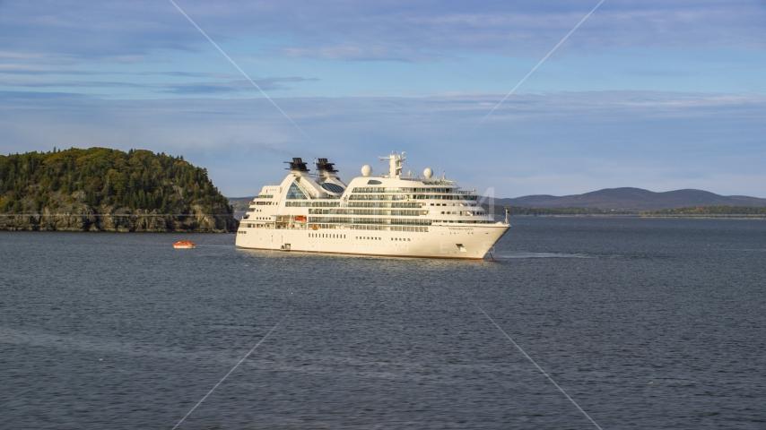 A cruise ship near a tiny island, Bar Harbor, Maine Aerial Stock Photos | AX148_194.0000000