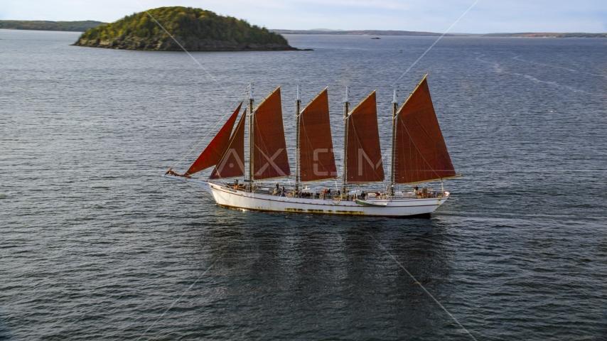 A sailing ship in Bar Harbor, Maine Aerial Stock Photos | AX148_197.0000000