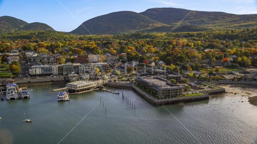 Harborside Hotel, Spa and Marina in autumn, Bar Harbor, Maine Aerial Stock Photos | AX148_201.0000164