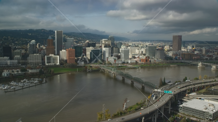 The Marquam Bridge and skyscrapers in Downtown Portland, Oregon Aerial Stock Photos | AX153_054.0000322F