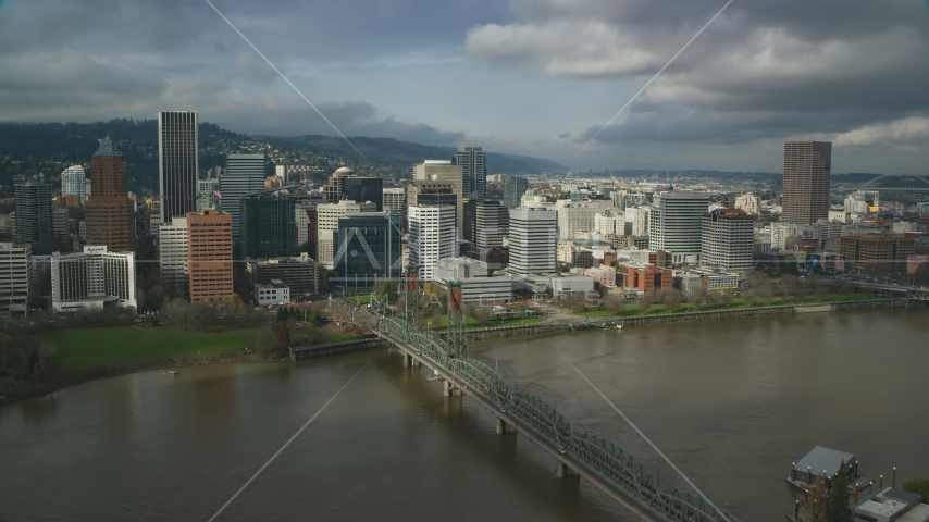 The Hawthorne Bridge, downtown skyscrapers and high-rises, autumn, Downtown Portland, Oregon Aerial Stock Photos | AX153_055.0000112F