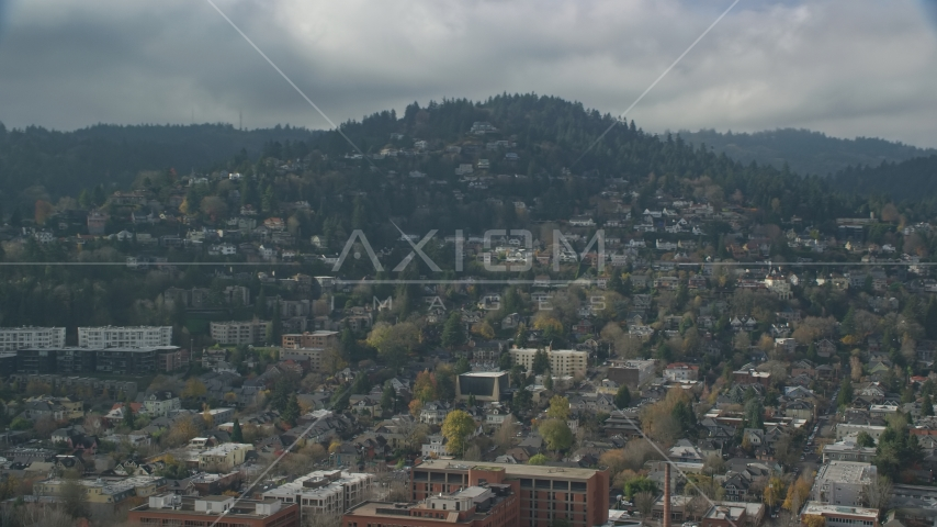 Houses on a hillside in autumn, Portland, Oregon Aerial Stock Photos | AX153_058.0000000F