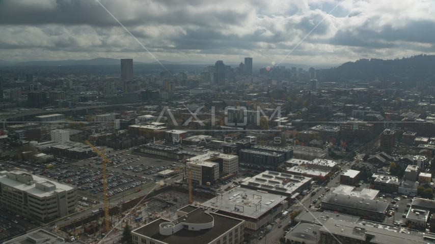 Warehouses, parking lots, office buildings near Downtown, Northwest Portland, Oregon Aerial Stock Photos | AX153_067.0000308F