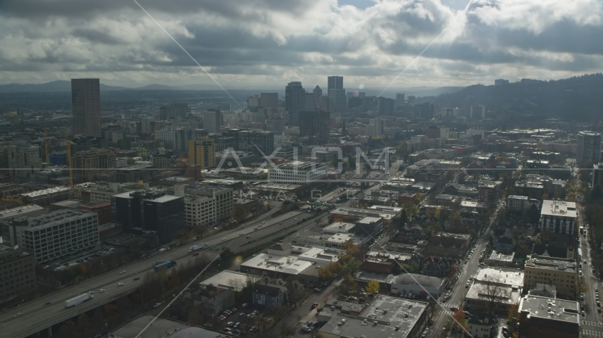 I-405 and Downtown Portland skyscrapers in Oregon Aerial Stock Photos | AX153_068.0000354F