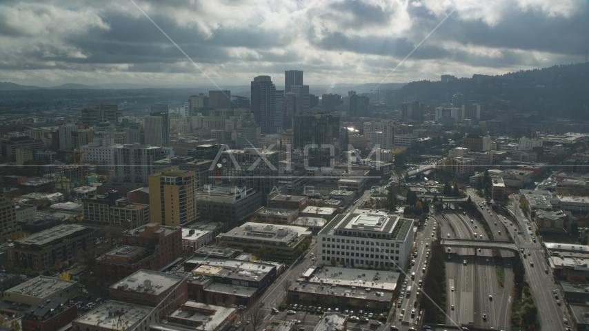 Downtown Portland and Interstate 405 in Oregon Aerial Stock Photos | AX153_069.0000199F