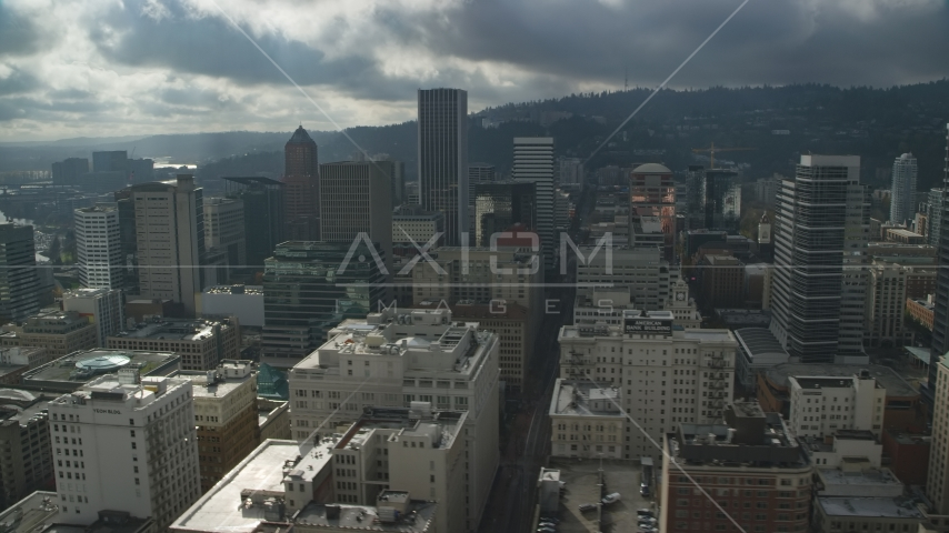 Wells Fargo Center and tall skyscrapers in Downtown Portland, Oregon Aerial Stock Photos AX153_071.0000053F