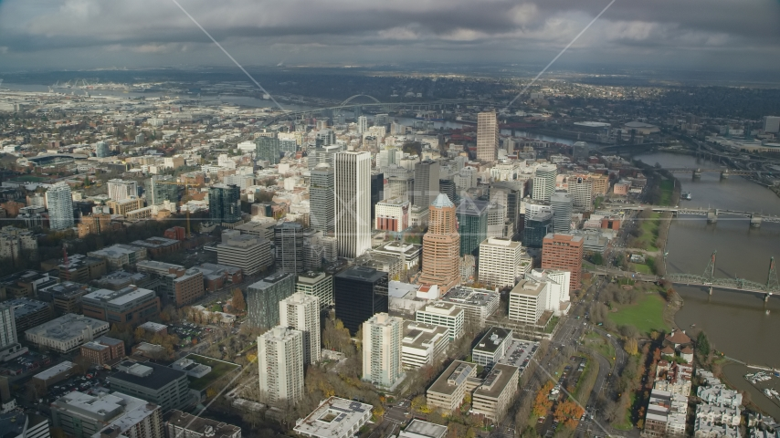 Downtown Portland's tall skyscrapers and high-rises, Oregon Aerial Stock Photos | AX153_073.0000129F