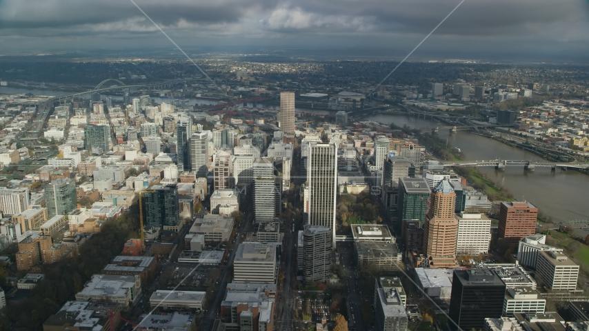 Skyscrapers near the Willamette River in Downtown Portland, Oregon Aerial Stock Photos | AX153_074.0000217F