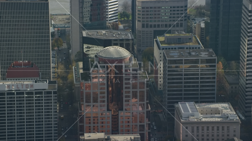 1000 Broadway skyscraper in Downtown Portland, Oregon Aerial Stock Photo AX153_076.0000232F | Axiom Images
