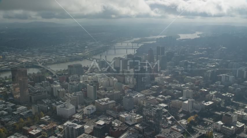 Bridges over the Willamette River and skyscrapers in Downtown Portland, Oregon Aerial Stock Photos | AX153_077.0000000F