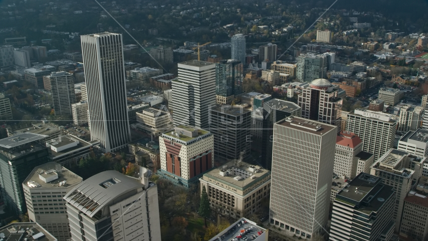 Wells Fargo Center and nearby high-rises in Downtown Portland, Oregon Aerial Stock Photos | AX153_080.0000239F