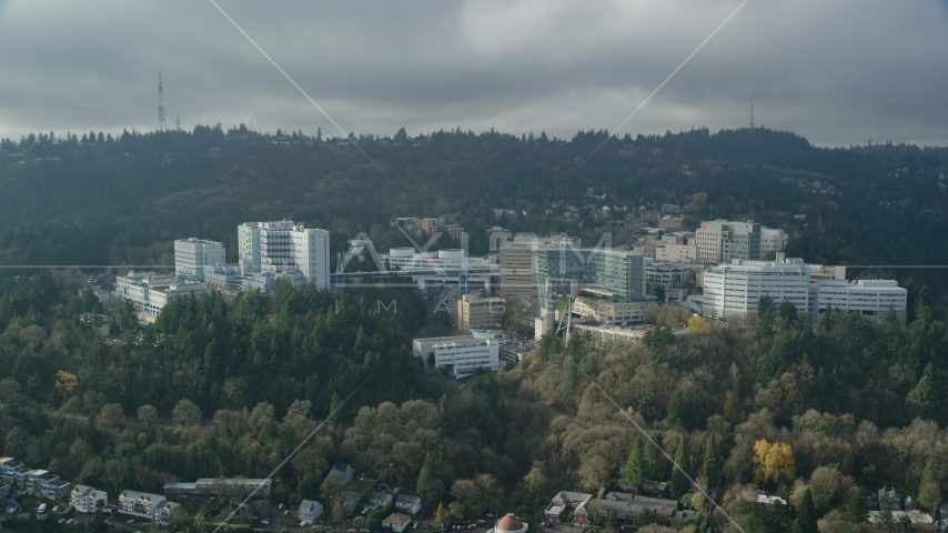 The Oregon Health and Science University in Portland, Oregon Aerial Stock Photo AX153_082.0000000F | Axiom Images