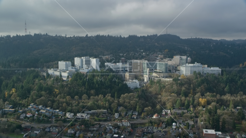 Oregon Health and Science University in the hills of Portland, Oregon Aerial Stock Photos AX153_082.0000135F