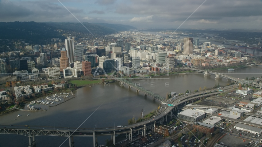 Hawthorne Bridge and skyscrapers in Downtown Portland, Oregon Aerial Stock Photos | AX153_083.0000000F