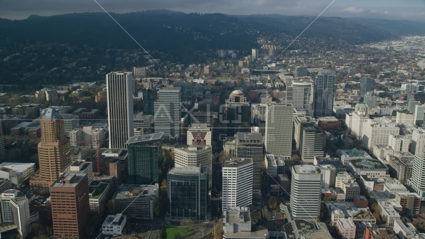 A view of Downtown Portland's skyscrapers in Oregon Aerial Stock Photo AX153_084.0000230F | Axiom Images