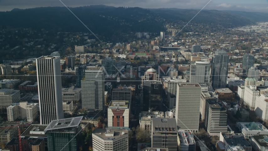 Downtown Portland's high-rises in Oregon Aerial Stock Photo AX153_084.0000353F | Axiom Images
