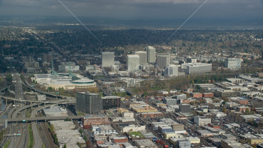 Oregon Convention Center and office buildings in the Lloyd District of Portland, Oregon Aerial Stock Photos | AX153_091.0000000F