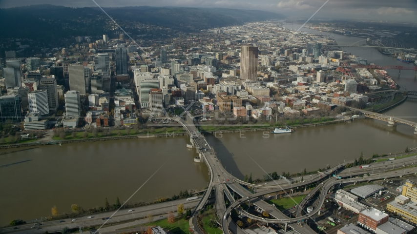 Downtown skyscrapers and the Morrison Bridge in Downtown Portland, Oregon Aerial Stock Photos | AX153_092.0000000F