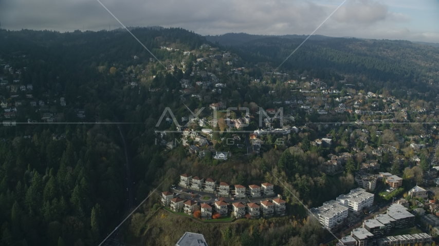 Houses in the Hillside neighborhood of Portland, Oregon Aerial Stock Photos | AX153_096.0000259F