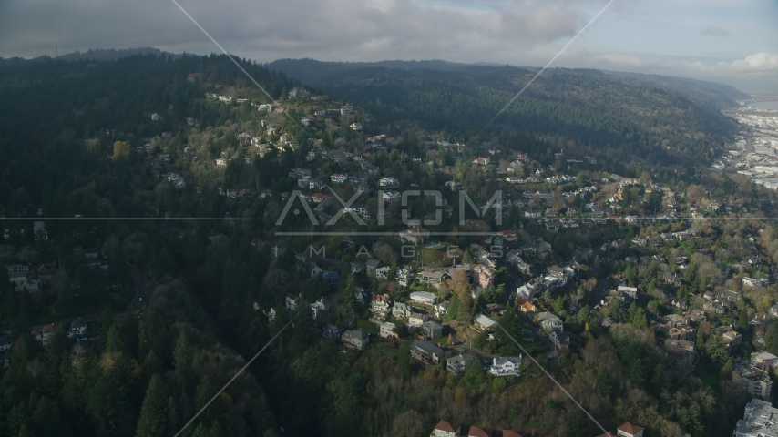 Homes in the Hillside neighborhood of Portland, Oregon Aerial Stock Photos | AX153_096.0000378F