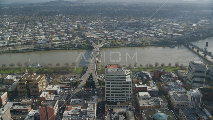 The Morrison Bridge in Downtown Portland, Oregon Aerial Stock Photos AX153_099.0000085F