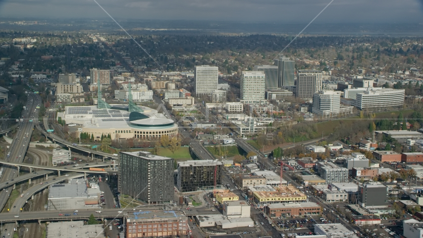 The Oregon Convention Center by office buildings in Lloyd District, Portland, Oregon Aerial Stock Photos | AX153_100.0000249F