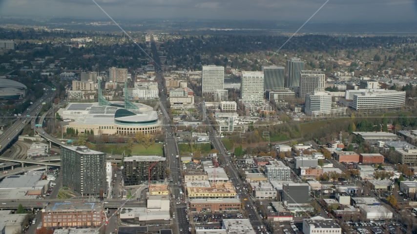 Oregon Convention Center beside office buildings in Lloyd District, Portland, Oregon Aerial Stock Photos | AX153_100.0000327F