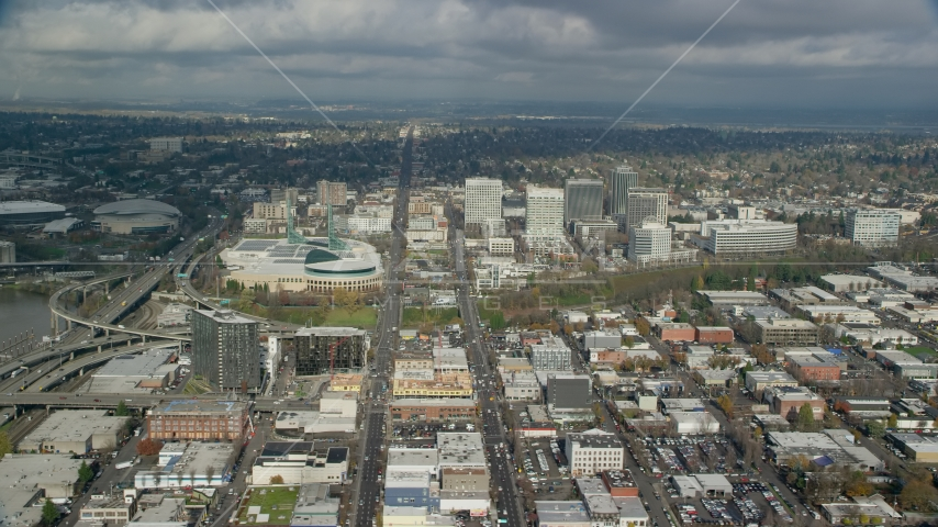 The Oregon Convention Center and a group of office buildings in Lloyd District, Portland, Oregon Aerial Stock Photos | AX153_101.0000000F