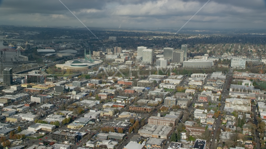 A view of the Oregon Convention Center and office buildings in Lloyd District, Portland, Oregon Aerial Stock Photos | AX153_101.0000308F